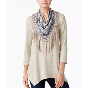 Style & Co tan knit tunic detachable scarf top